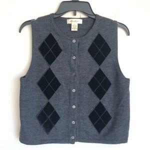 Eddie Bauer Merino Wool Velvet Sweater Vest